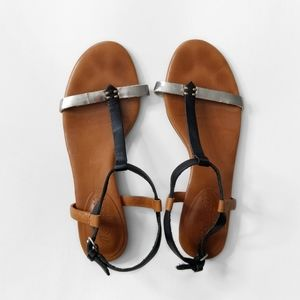 MADEWELL Brown Silver Strap Sandals